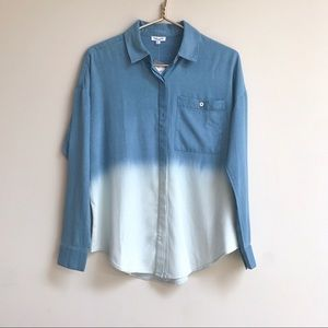 Splendid Ombre Dip Dyed Chambray Button Down Shirt